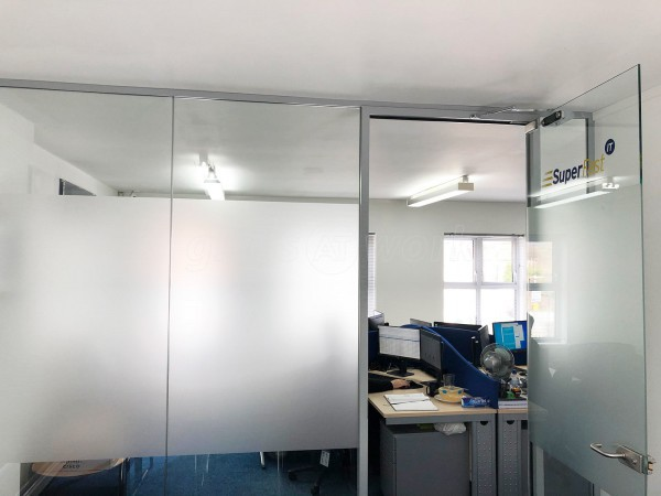 Superfast IT (Stourbridge, West Midlands): Single Glazed Acoustic Glass Office Partition with Framed Door Leaf
