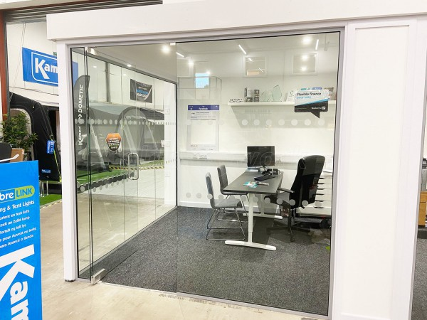 Tamar Towing & Caravans Ltd (Plymouth, Devon): Glass Office Installation Including Corner Rooms and Inline Partition