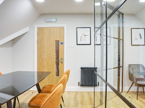 Aben Living (Derby, Derbyshire): Steel Framed Style Stepped Glass Wall Using Black Aluminium