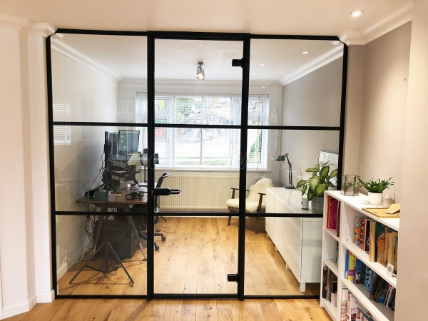 Residential Project (Tunbridge Wells, Kent): T-bar Heritage Style Metal and Glass Wall For A Home Office