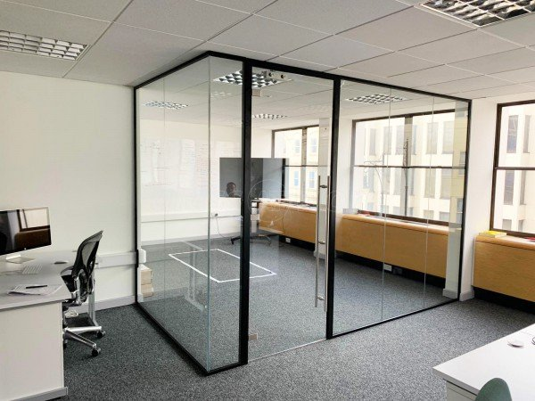 Acquia Inc (Brighton, East Sussex): Acoustic Glass Partition with Framed Door in Black RAL 9005