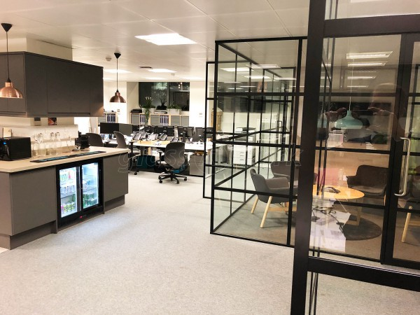 The Cabling Group (Aldgate, London): Industrial Style Glazed Partition Walls Using Our Black Slimline T-Bar Metal & Glass System