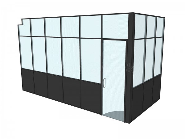 Atelier Baulier Ltd (Shoreditch, London): Industrial Style T-Bar Glass Partitioning (Black Framed Glazing)