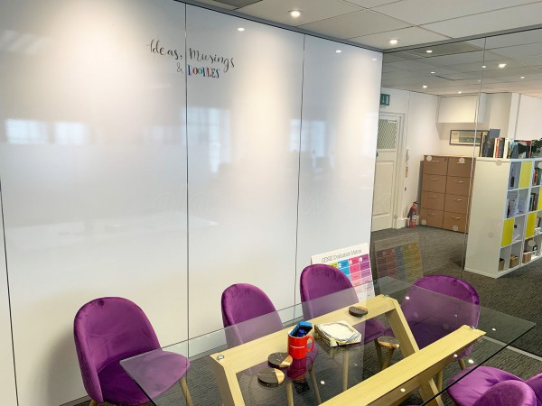 BBM Campaigns Ltd (Mayfair, London): Multi-office fit-out with frameless glass doors & writeable wall