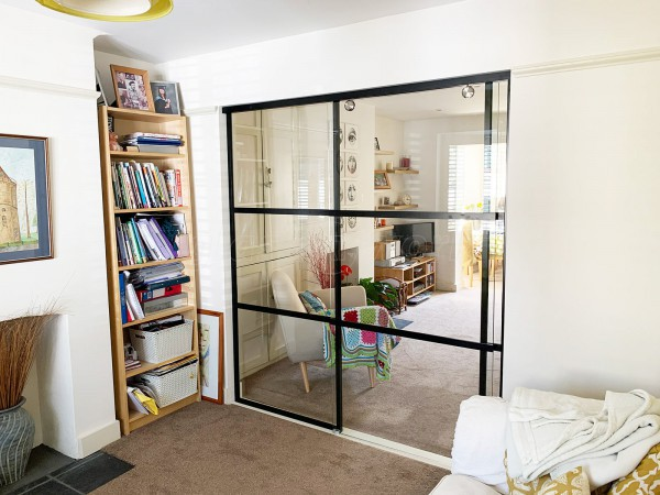 Residential Project (Berkhamsted, Hertfordshire):  T-Bar Slimline Industrial Style With Top-Hung Glass Sliding Door