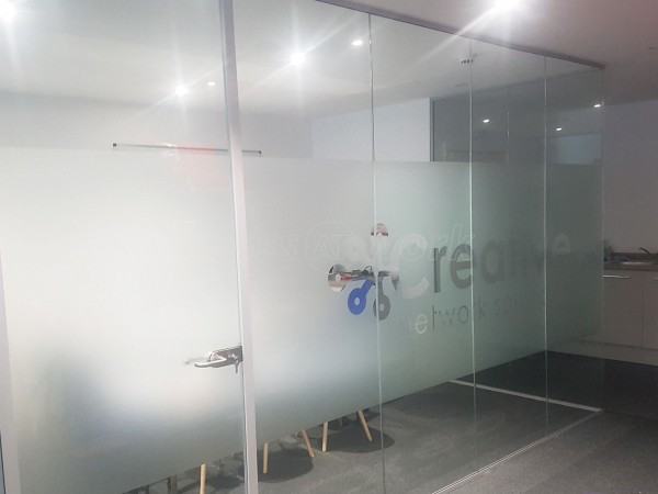 Creative Network Solutions (Bamber Bridge, Lancashire): Single Glazed Acoustic Partitions with Bespoke Opal Frost Film