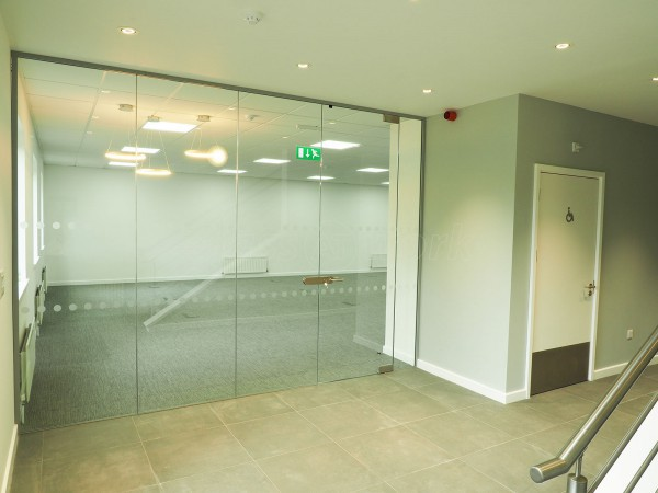 Deltabravo (Gloucester, Gloucestershire): Toughened Glass Office Wall With Frameless Door and Lockset