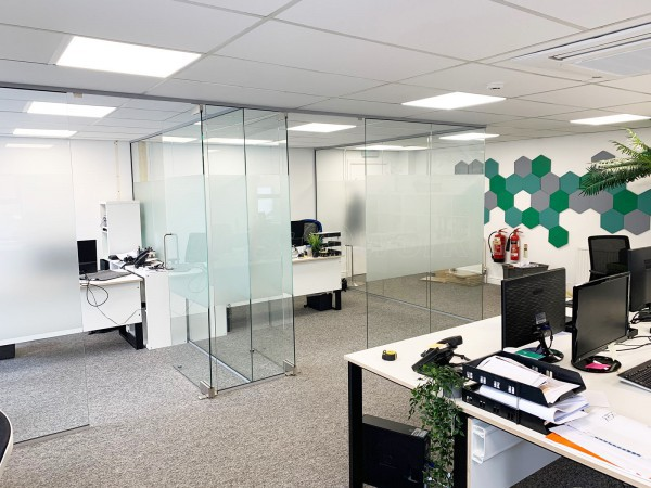 Duku (Cheltenham, Gloucestershire): Glass Office Pods With Glazed Dividing Wall And Doors