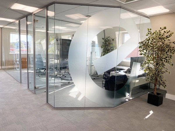 Engage Business Media (Hersham, Surrey): Frameless Glass Offices With Laminated Acoustic Glass And Own Logo Window Film