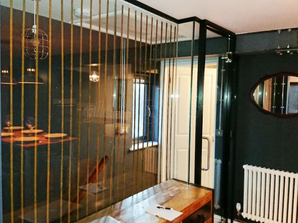 Domestic Project (Hockley, Essex): Glass Wall With Acoustic Glass & Framed Door & Black Perimeter Track