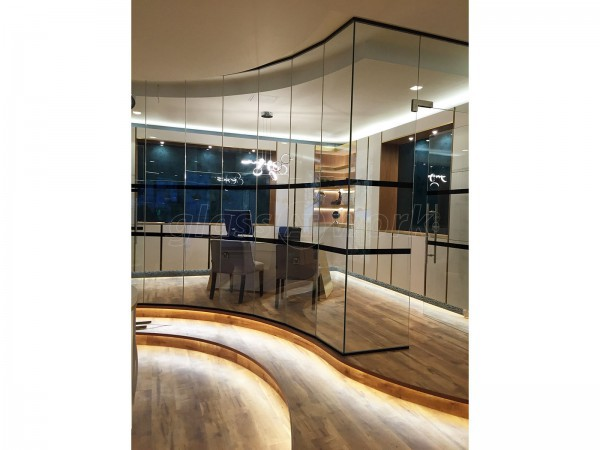 Spot This Space (Wembley, London): Curved Faceted Glass Partition With Black Track