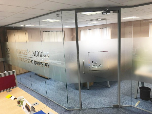 Flo-Mech Ltd (Peterborough, Cambridgeshire): Stepped Glass Office Screen With Bespoke Window Film