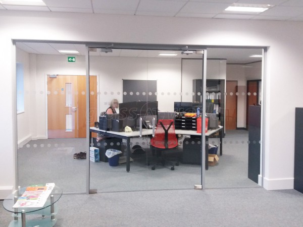 Pruftechnik Ltd (Lichfield, Staffordshire): Glass Partition With Framed Double Glass Doors