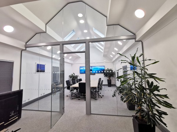 FSG Property Services (Milton Keynes, Buckinghamshire): Large Shaped Glazed Screen With Transom and Glass Office Fit-out