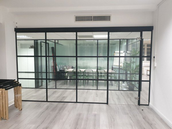 FRAMEWORKS (Westminster, London): Full Office Fit-Out Using Black Industrial Warehouse Glazed Partitions [Our Alternative to Steel Framed Glazing]