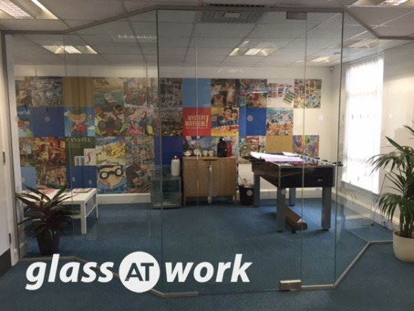 Gibson Games (Sutton, London): Angled Glass Partitioning