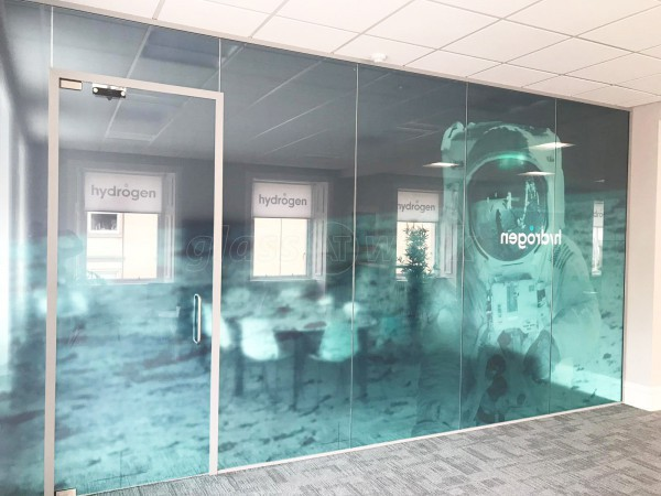 We Are Hydrogen Ltd (Central Glasgow, Scotland): Office Partition With Spaceman Moon Landing Graphic