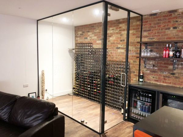Domestic Project (St Albans, Hertfordshire): Frameless Glass Wine Display Corner Room With Black Frame