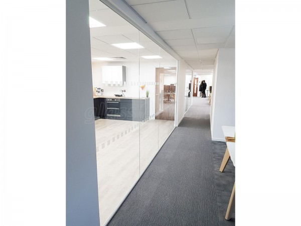 Four Square Furniture (Watford, Hertfordshire): Glass Office Walls (Using Toughened Glass & Laminated Acoustic Glass)