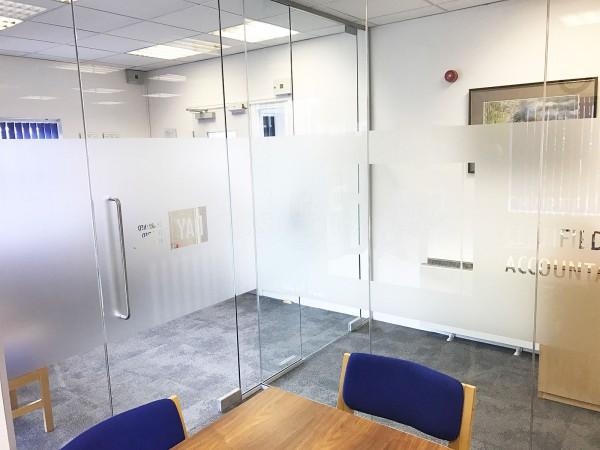 Day Accountants (Cambridge): Glass Office Partitions With Own Logo Window Film