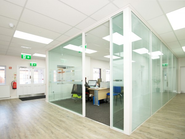 Silwood Facilities Ltd (Chertsey, London): Double Glazed Partitioning with Integral Blinds