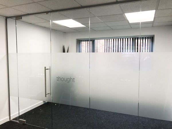 Thoughtmix (Lincoln): Glass Partition with Glass Door