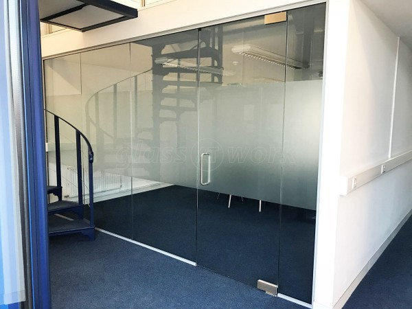 Sinewave Energy Solutions (Baydon, Wiltshire): Glass Office Partition With Glass Door