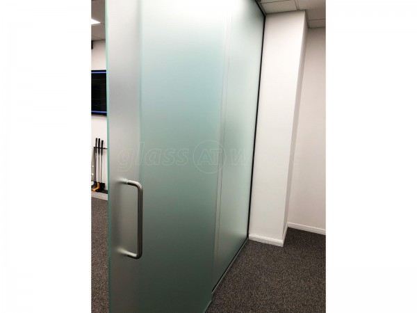 Unified Retail Group (Huntingdon, Cambridgeshire): Top Hung Sliding Glass Door, With Full Window Film
