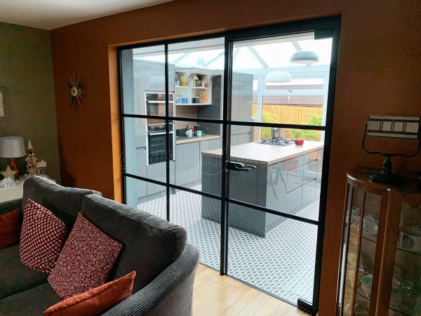 Residential Project (Cumbernauld, Glasgow): Warehouse-Effect Black Steel-Style Glass Wall