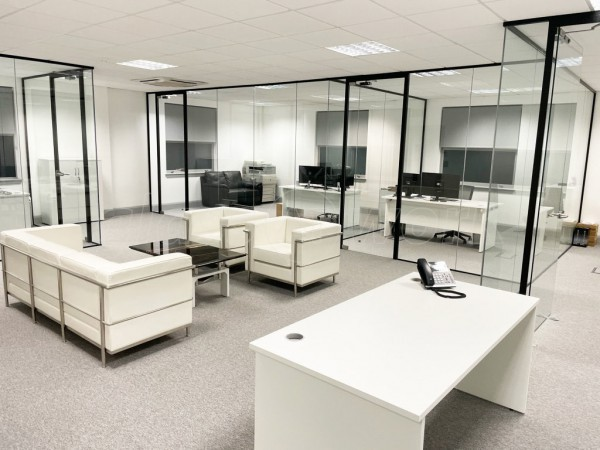 Grama Blend UK (Wokingham, Berkshire): Designer Interior Toughened Glass Office Walls Installation With Black Frames