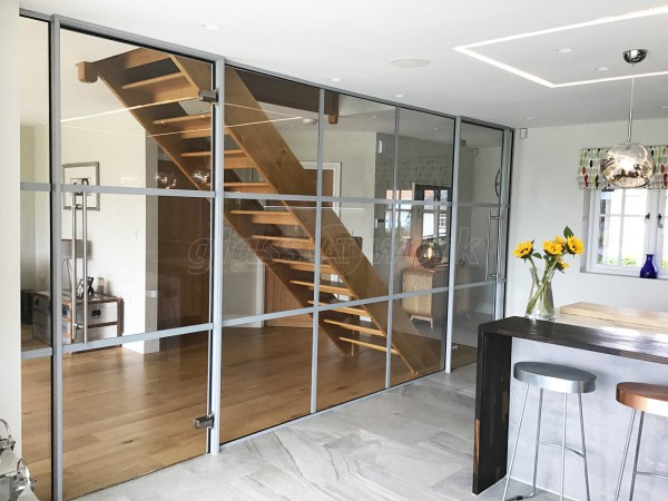 Domestic Project (Lymington, Hampshire): T-Bar Glass Partition Industrial-Style Banded Glazing in RAL 9006 Silver