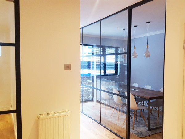 GWB Entertainment (Brook Green, London): Black Framed Industrial Style Glass Walls