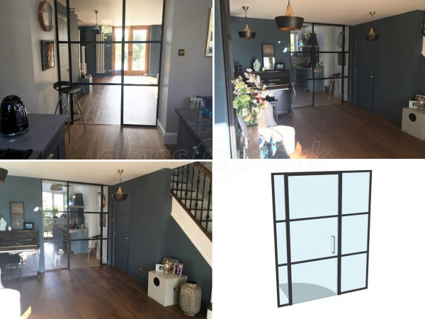 Domestic Project (Upham, Hampshire): Small Black Steel Framed Style Glazed Wall & Door
