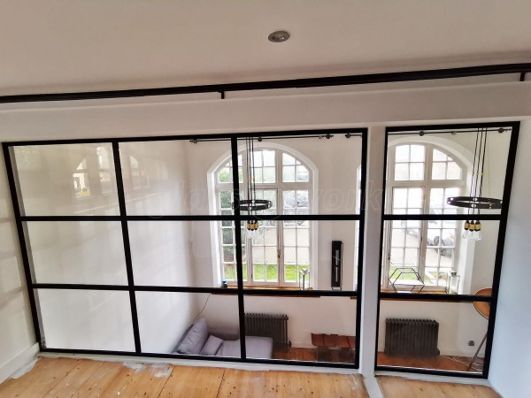 Domestic Project (Southwark, London): Mezzanine T-Bar Industrial Style Glazing With Black Frame