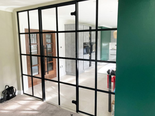 Residential Project (Uxbridge, Middlesex): Industrial-Style T-Bar Toughened Glass Room Divider