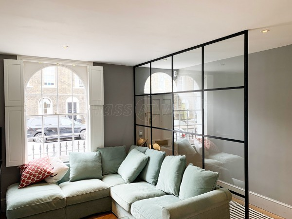 Residential Project (Islington, London): Black Grid Industrial-Style Glass Room Divider