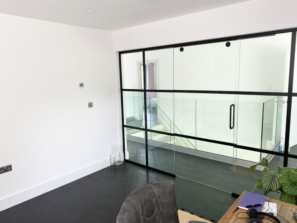 Residential Project (St Albans, Hertfordshire): Industrial (Shoreditch-Style) Home Office Glass Sliding Door With Black Bars