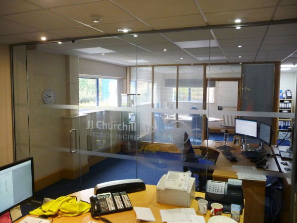 J J Churchill (Nuneaton, Leicestershire): Toughened Glass Office Partition With Bespoke Window Film