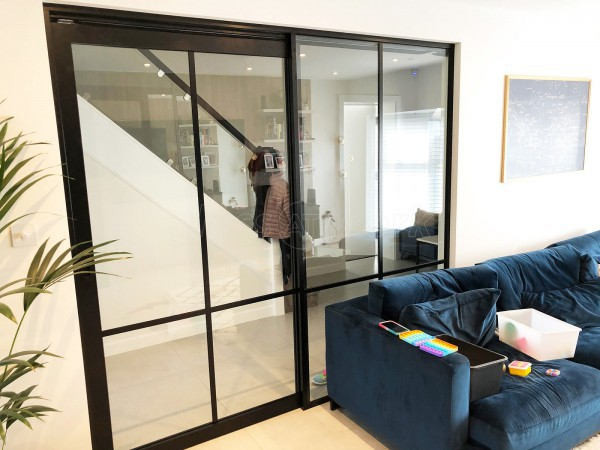 Residential Project (Elstree, Hertfordshire): T-Bar Slimline (Art Deco Style) Glass Walls and Sliding Doors
