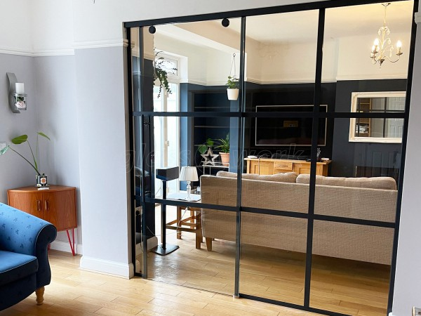 Residential Project (South Croydon, Surrey): Heritage-Style Industrial Sliding Door Screen With Black Frame