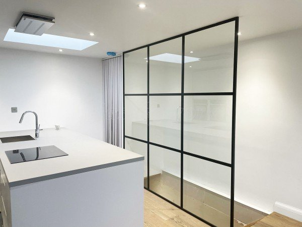 Residential Project (Lee-On-The-Solent, Hampshire): Slimline T-Bar Industrial-Style Open-Ended Glazed Wall For A Stairwell