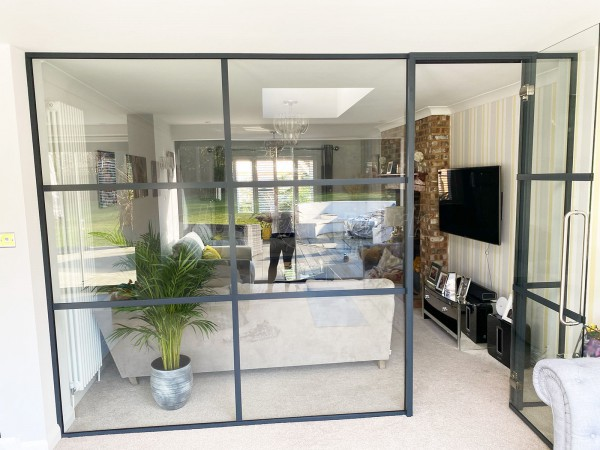 Residential Project (West Malling, Kent): T-Bar Warehouse-Style Black Metal and Glass Screen