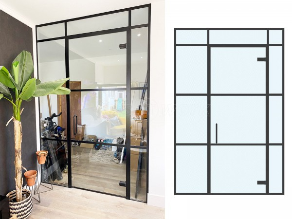 Residential Project (Reading, Berkshire): Warehouse-Look Glass Wall With Black Metal Frame