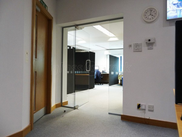 TI Security (Garforth, Leeds): Glass Partition With Glass Door
