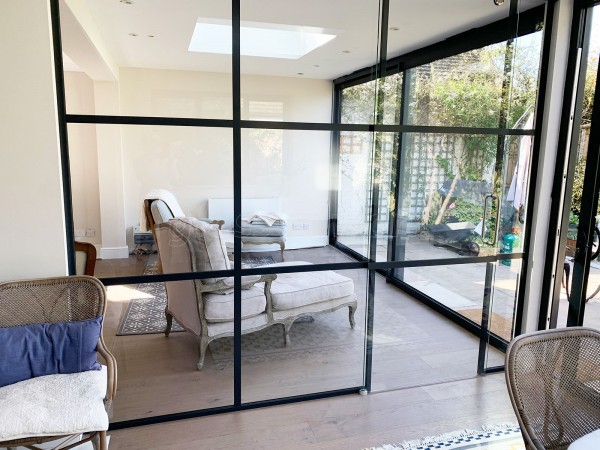 Residential Project (Walton-on-Thames, Surrey): Black T-Bar Industrial Style Room Divider With Sliding Door