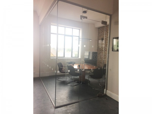 Security Company (Acton, London): Small Glass Corner Office