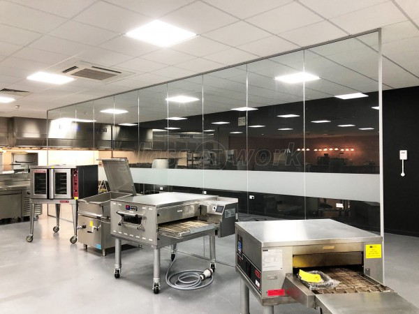 MIDDLEBY UK (Warrington, Lancashire): Toughened Glass Open Ended Partition & Double Frameless Glass Doors