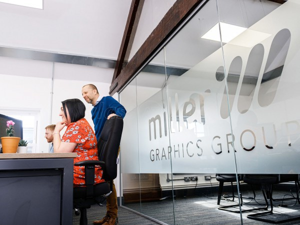 Miller Graphics UK (Beverley, East Yorkshire): Single Glazed Acoustic Partition with Framed Door