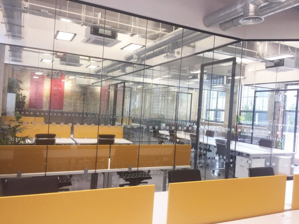 M Squared London Ltd (Dollis Hill, London): Commercial Glass Office Partition Fit-out With Black Track Work
