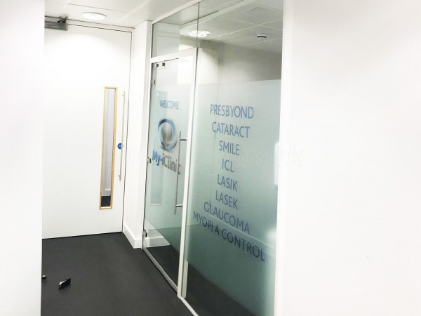 My-iClinic (North Finchley, London): Laminated Acoustic Glass Screen With Framed Glazed Door